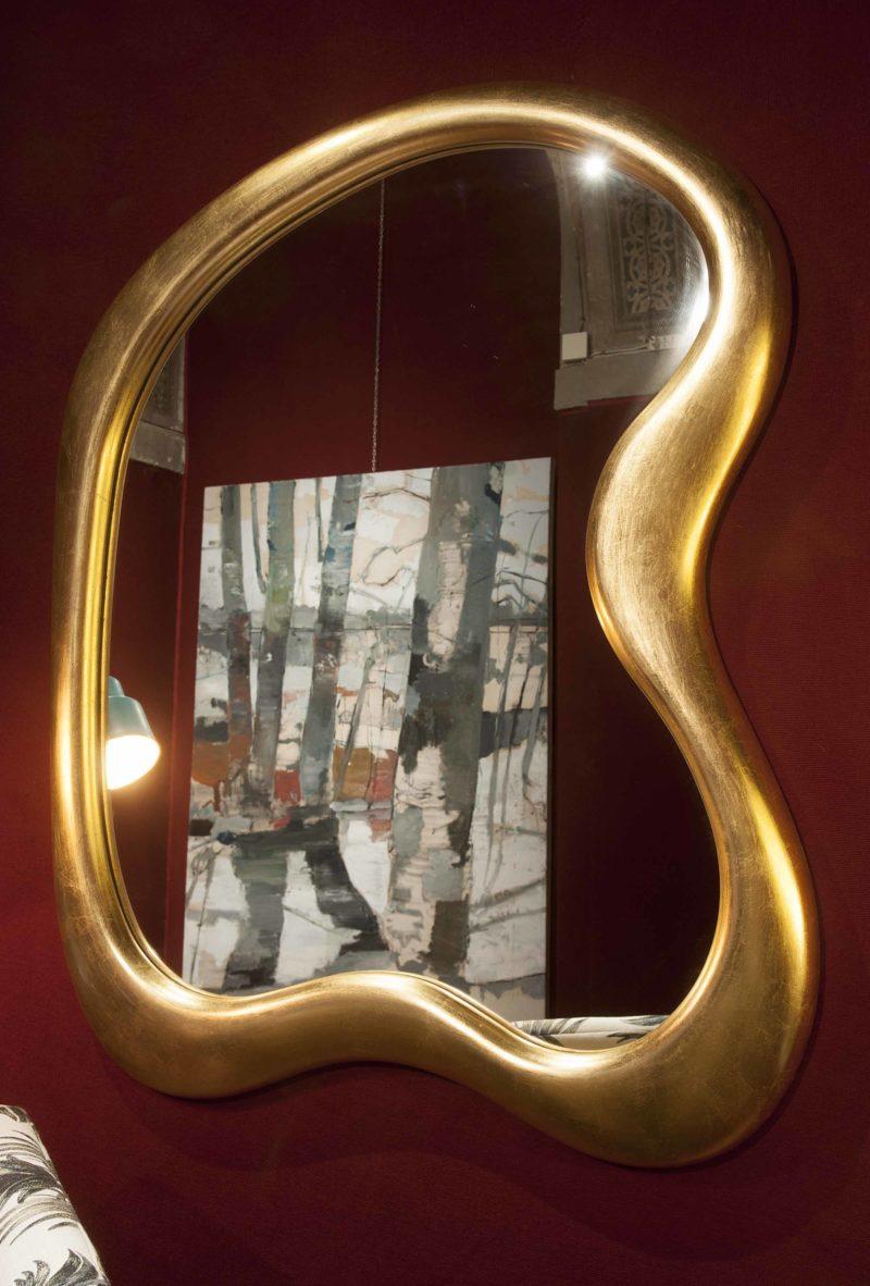 Specchio foglia oro stile Salvador Dalì